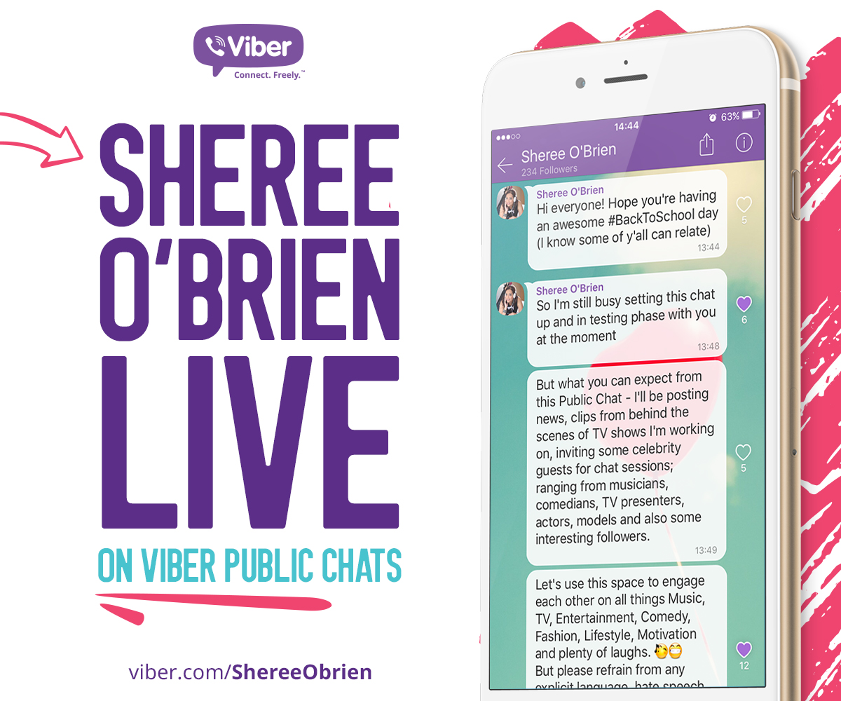 Viber partners with Celebrity talent, brand and media management specialist Sheree O'Brien, to launch Public Chats in Africa and Middle East.